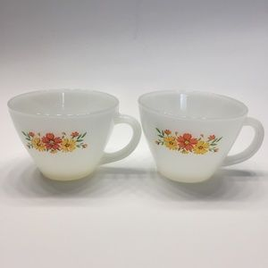 Fire King Dining - Two Fire King Coffee Cups Mugs Anchor Hocking 24